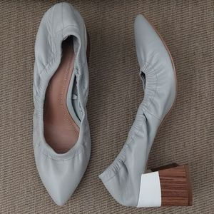 ZARA WOMAN SCRUNCHED GRAY POINTED CHUNKY HEEL PUMP
